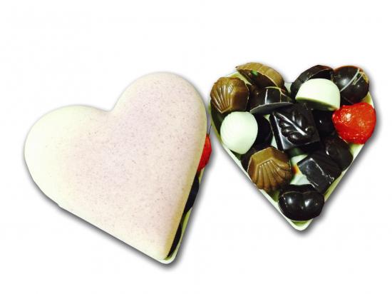 Corazon de Chocolate Rosa/ surtido de bombones