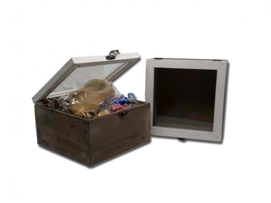 Caja pequeña madera tapa cristal/ Surtido Espes. D041