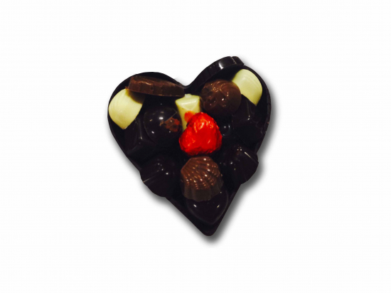 Corazón de chocolate. / bombones de molde surt.
