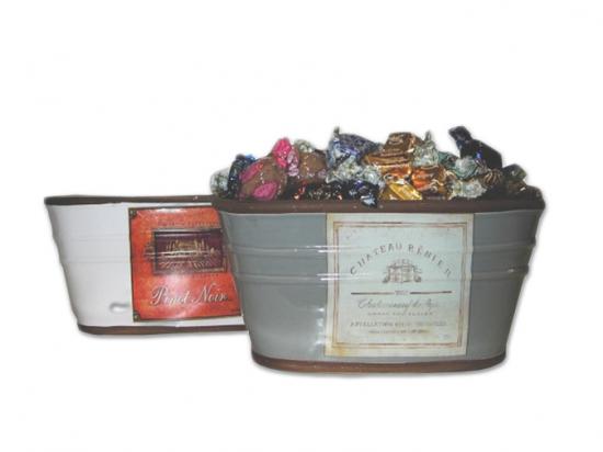 Jardinera oval.etiqueta vino/ Surtido Espec.D023