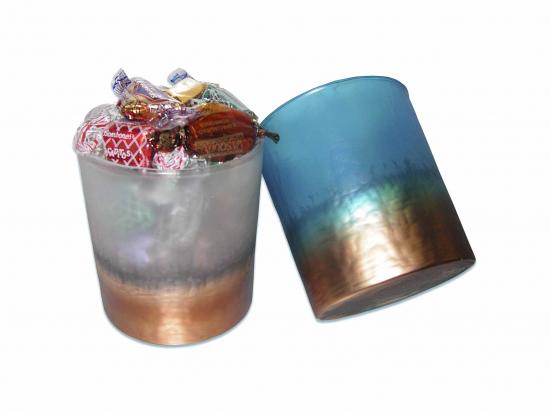 Bote Cristal Marrón Turquesa/ Surt de Bombones B070